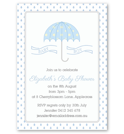 Umbrella Baby Shower Invitation in Blue