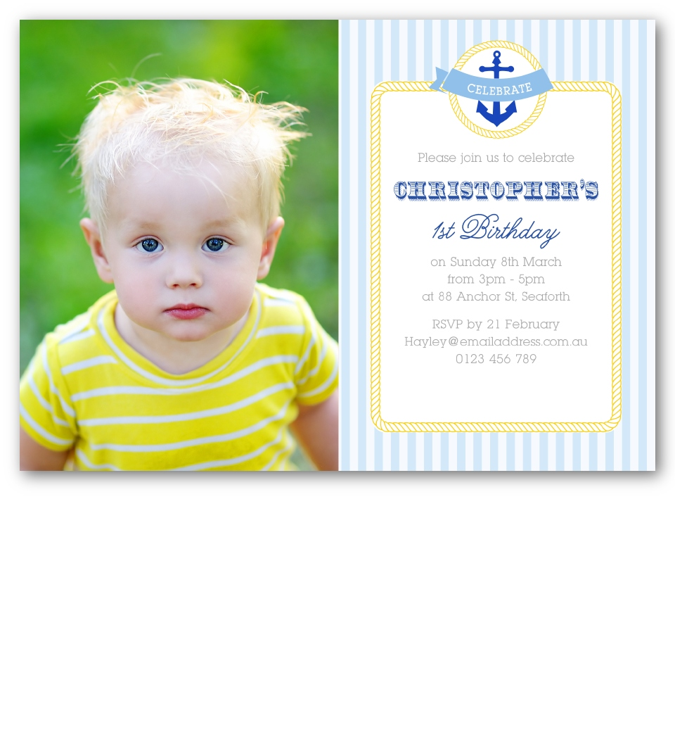Nautical Photo Birthday Invitation Front