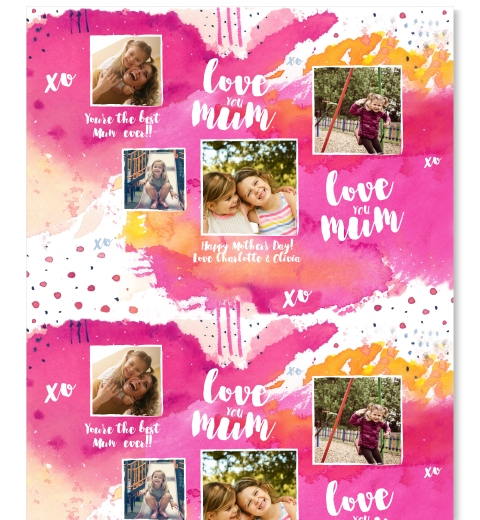 Fuchsia Watercolour Mother's Day Wrap