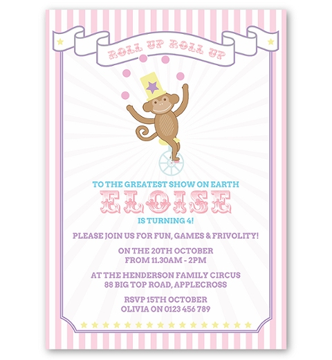 Pink Circus Birthday Invitation