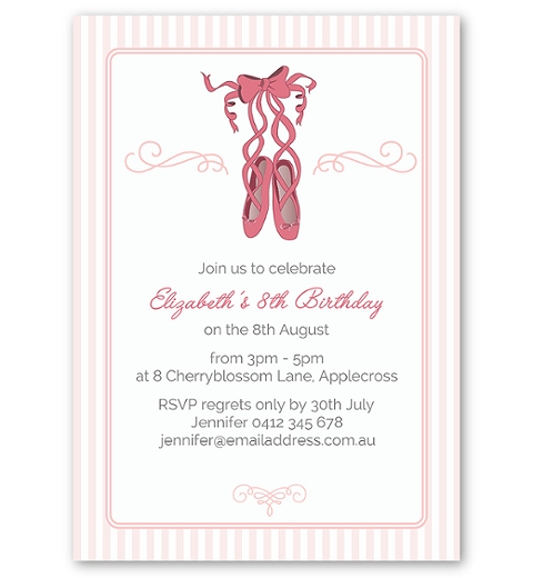 Ballet Birthday Invitation