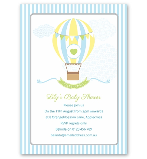 Blue Hot Air Balloon Baby Shower Invitation