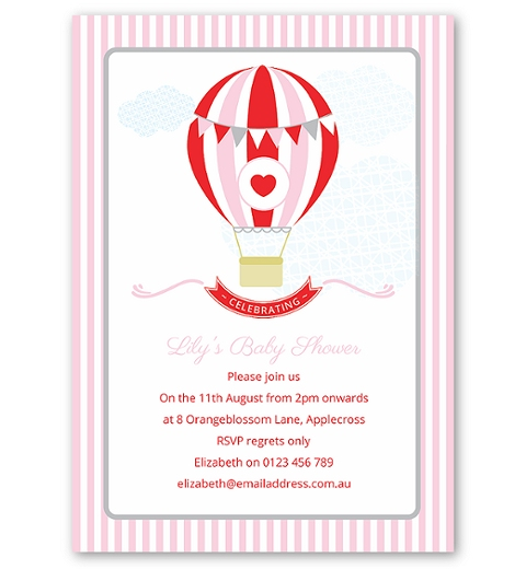 Pink Hot Air Balloon Baby Shower Invitation