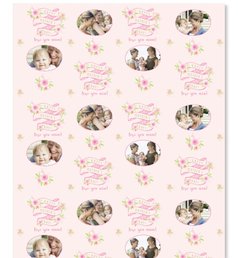 Floral Banner Mother's Day Wrapping Paper