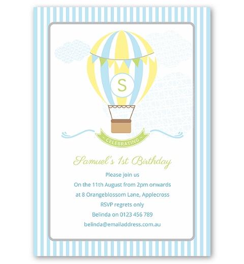 Blue Hot Air Balloon Birthday Invitation