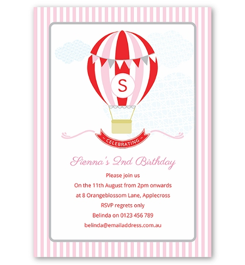 Pink Hot Air Balloon Birthday Invitation