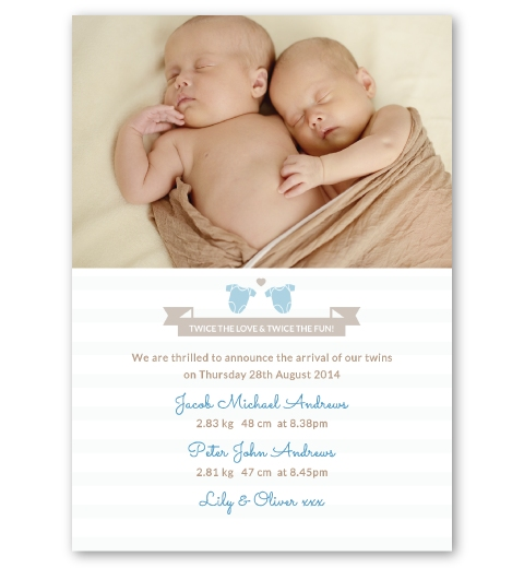 Twins Birth Announcement Cards – Birth Announcement for Twins