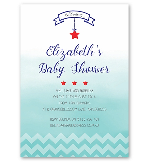 Ombre Chevron Baby Shower Invite in Blue
