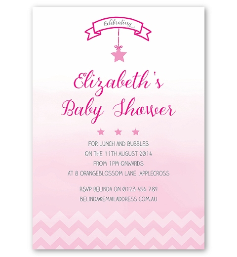 Ombre Chevron Baby Shower Invite in Pink