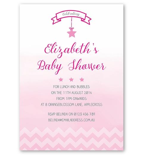 Ombre Chevron Baby Shower Invite in Pink