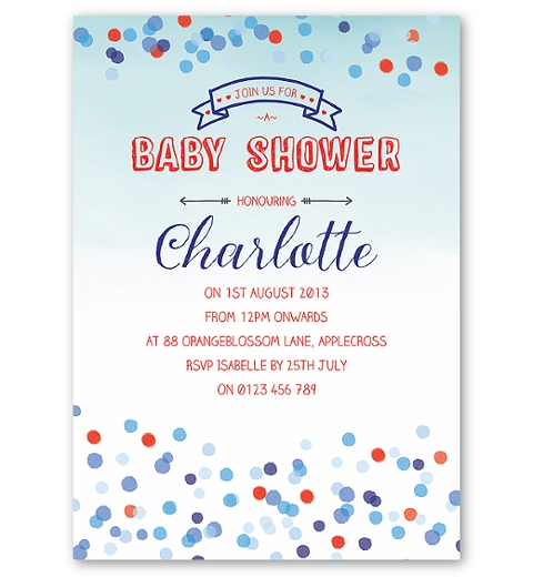 Confetti Baby Shower Invitation for Boys