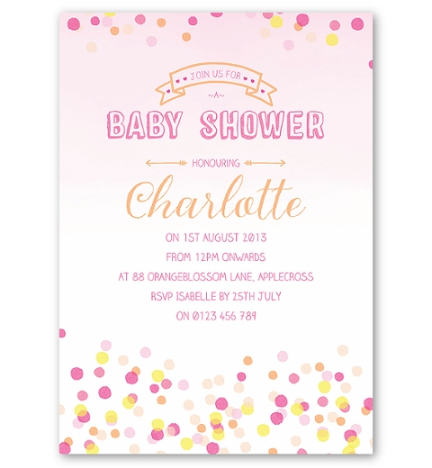 Confetti Baby Shower Invitation for Girls