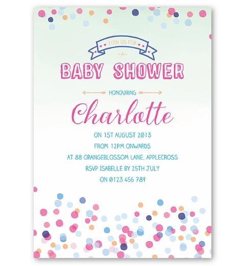 Confetti Baby Shower Invitation in Neutral Colours