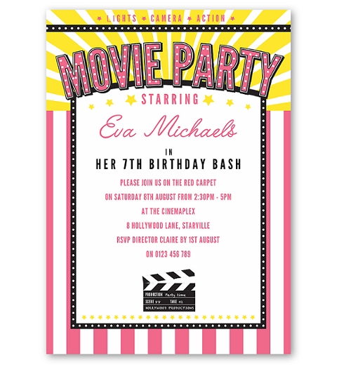 Movie Party for Girls Invitation for Girls