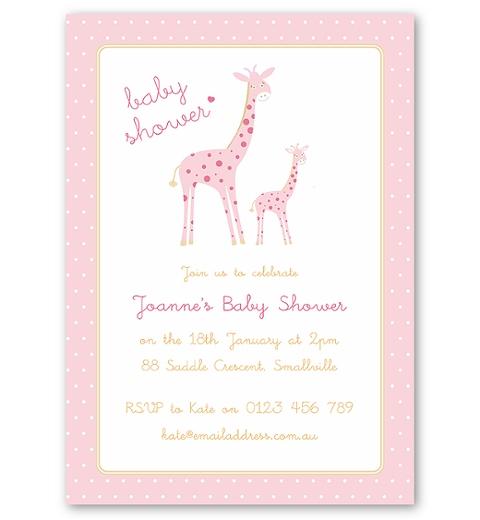 Mama & Bubba Giraffe in Pink Invitation