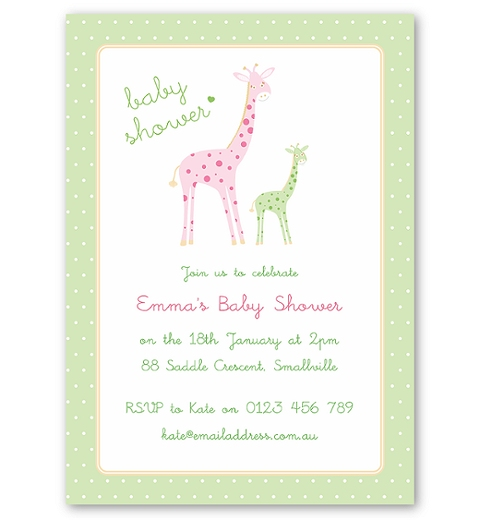Mama & Bubba Giraffe in Mint Invitation