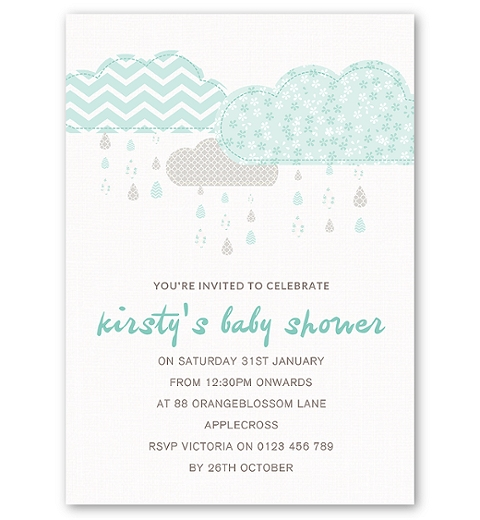 It's Raining Baby Shower in Mint Invitation