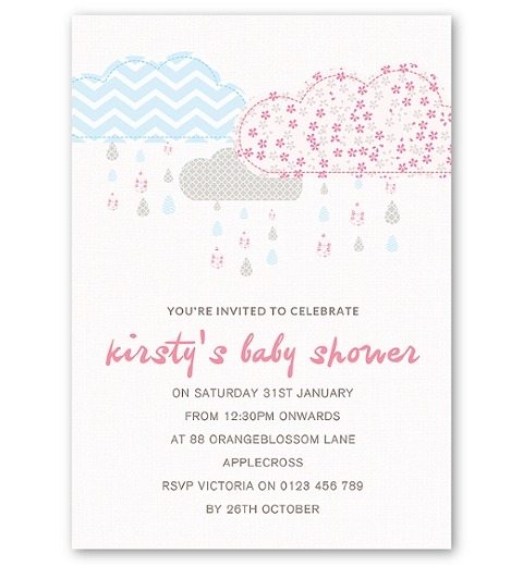 It's Raining Baby Shower in Baby Pink & Blue Invitation