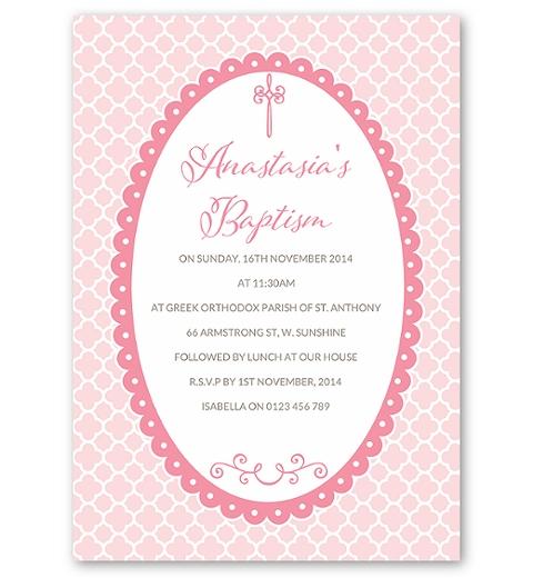 Quatrefoil - Pink Baptism Invitation