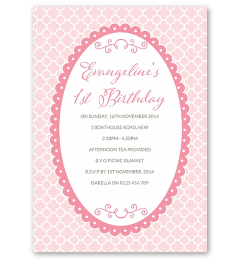 Quatrefoil - Pink Birthday Invitation