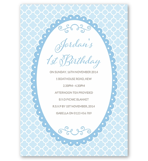 Blue Quatrefoil Birthday Invitation