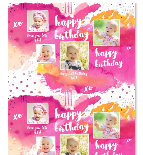 Fuchsia Birthday Wrapping Paper