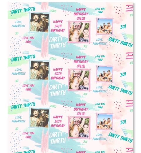 Pastel Brush Dirty Thirty Gift Wrap