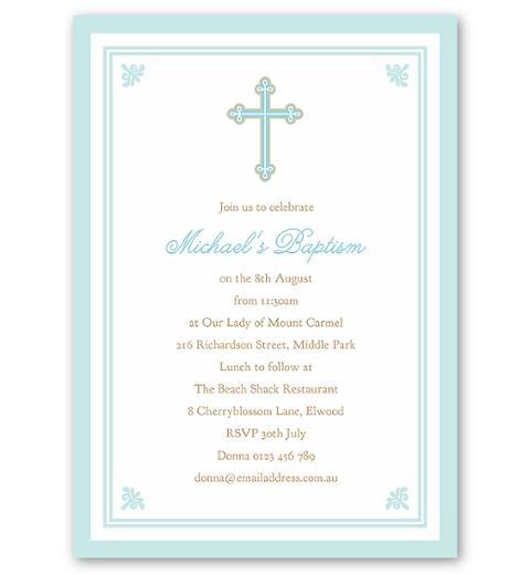 Sweet & Simple Baptism Blue Invitation