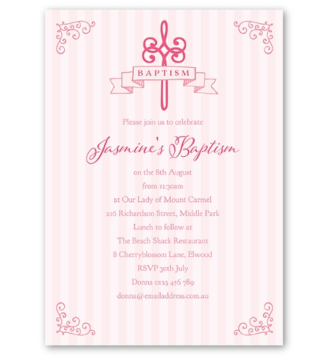 Striped Baptism - Pink Invitation
