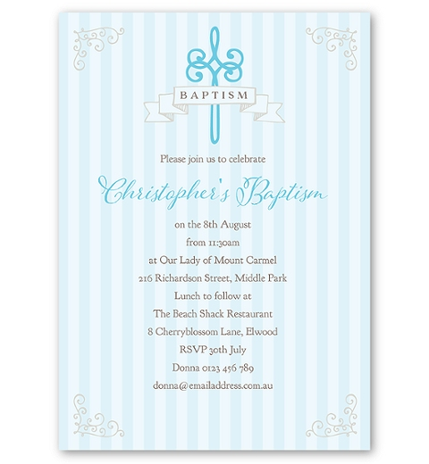 Striped Baptism - Blue Invitation