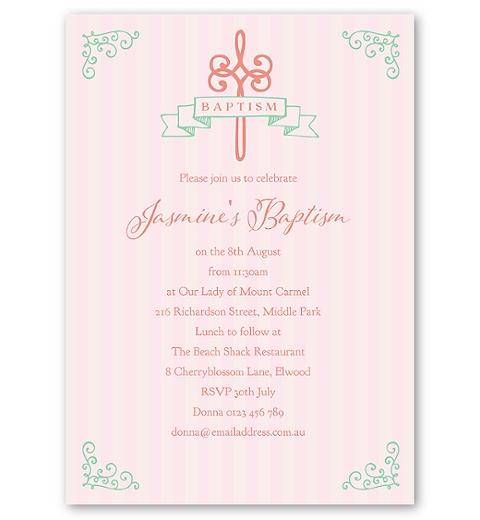Striped Baptism - Peach Invitation