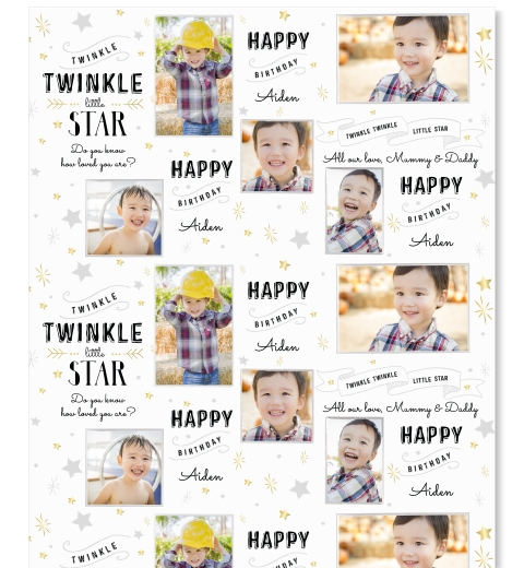 Twinkle Twinkle Little Star - Black & Silver Wrapping Paper