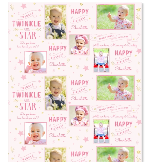 Twinkle Twinkle Little Star - Pink Wrapping Paper