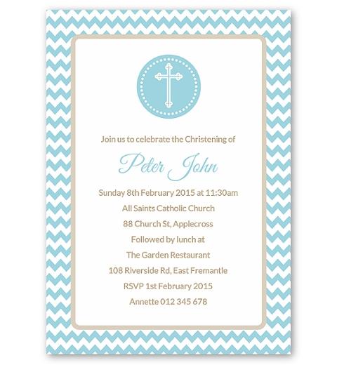 Blue Chevron Christening Invitation
