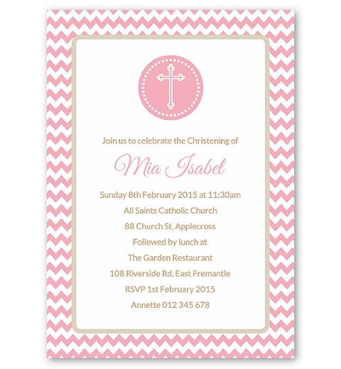 Pink Chevron Christening Invitation