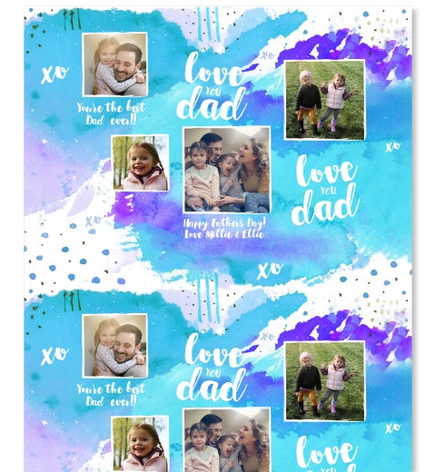 Blue Watercolour Father's Day Gift Wrap