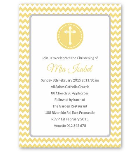 Lemon Chevron Christening Invitation