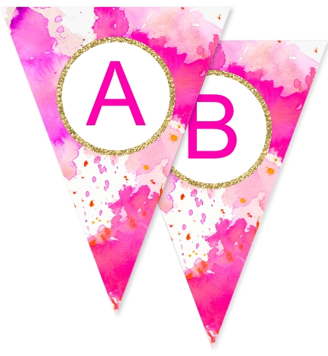 Fuchsia Watercolour Bunting