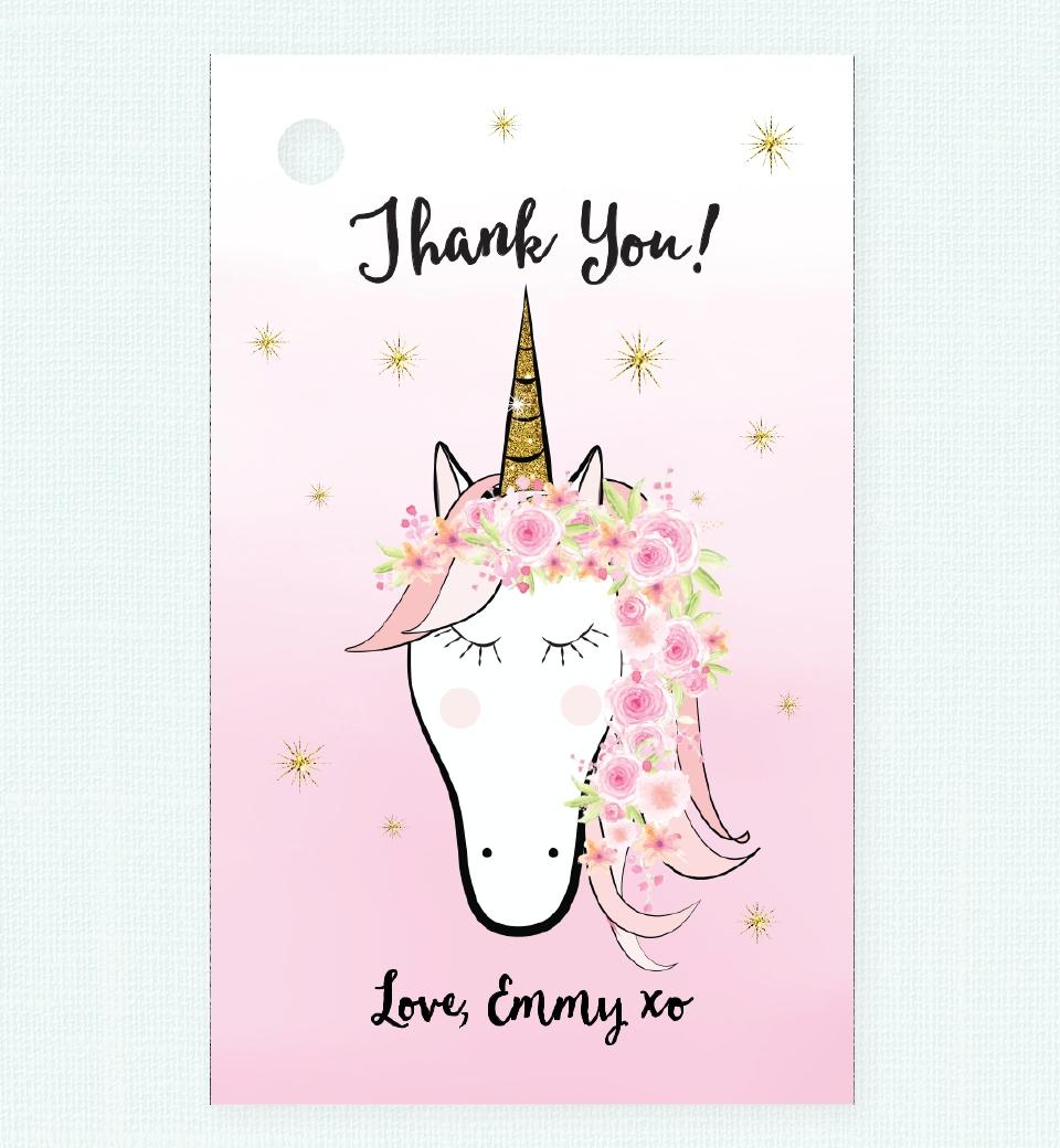 Floral Unicorn Thank You Tag Love Jk