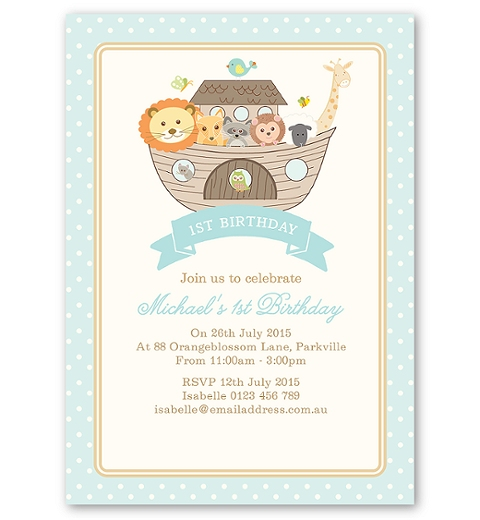 Noah's Ark Blue Invitation