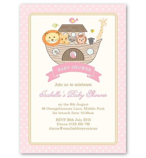 Noah's Ark Pink Baby Shower Invitation