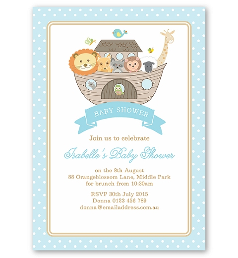 Noah's Ark Blue Baby Shower Invitation