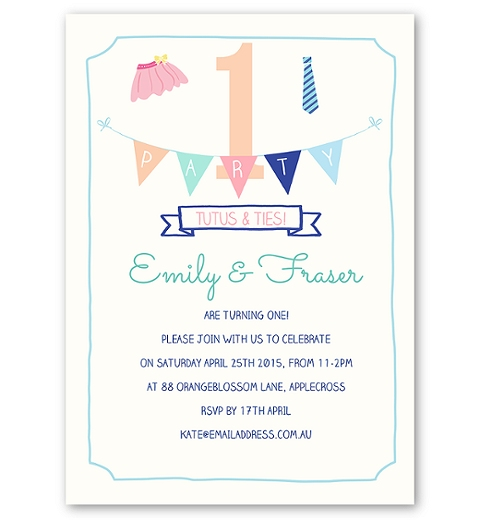 Tutus & Ties Party Invitation