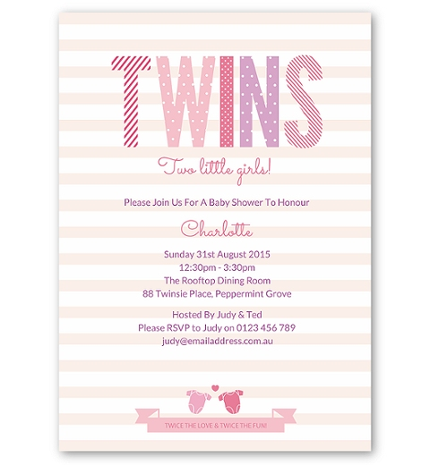 Twins Baby Shower Invitation - Girls