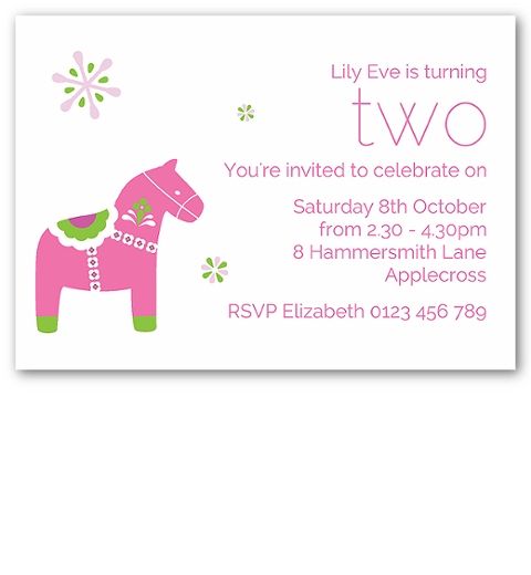 Dala Horse Invitations ~ Pink