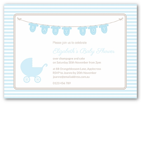 Onsie Baby Shower Invitation in Blue