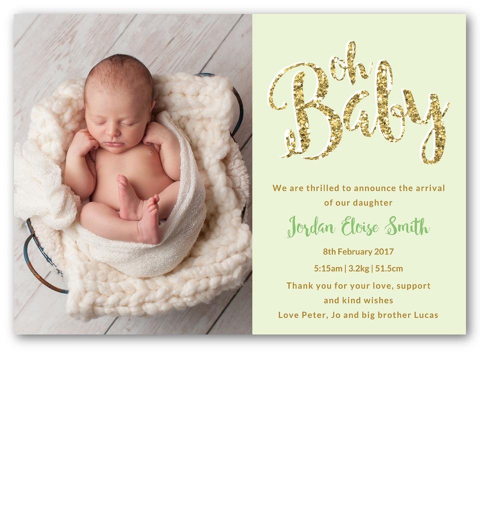 mint oh baby birth announcement love jk