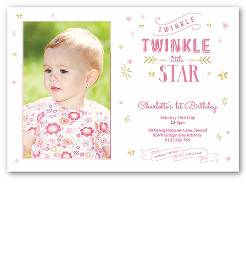 Twinkle Twinkle Little Star -Pink Invitation