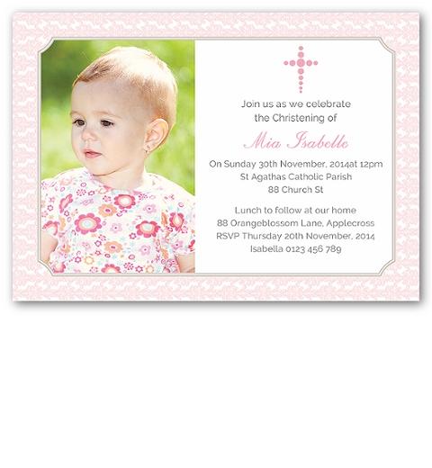 Pink Damask Photo Christening Invitation