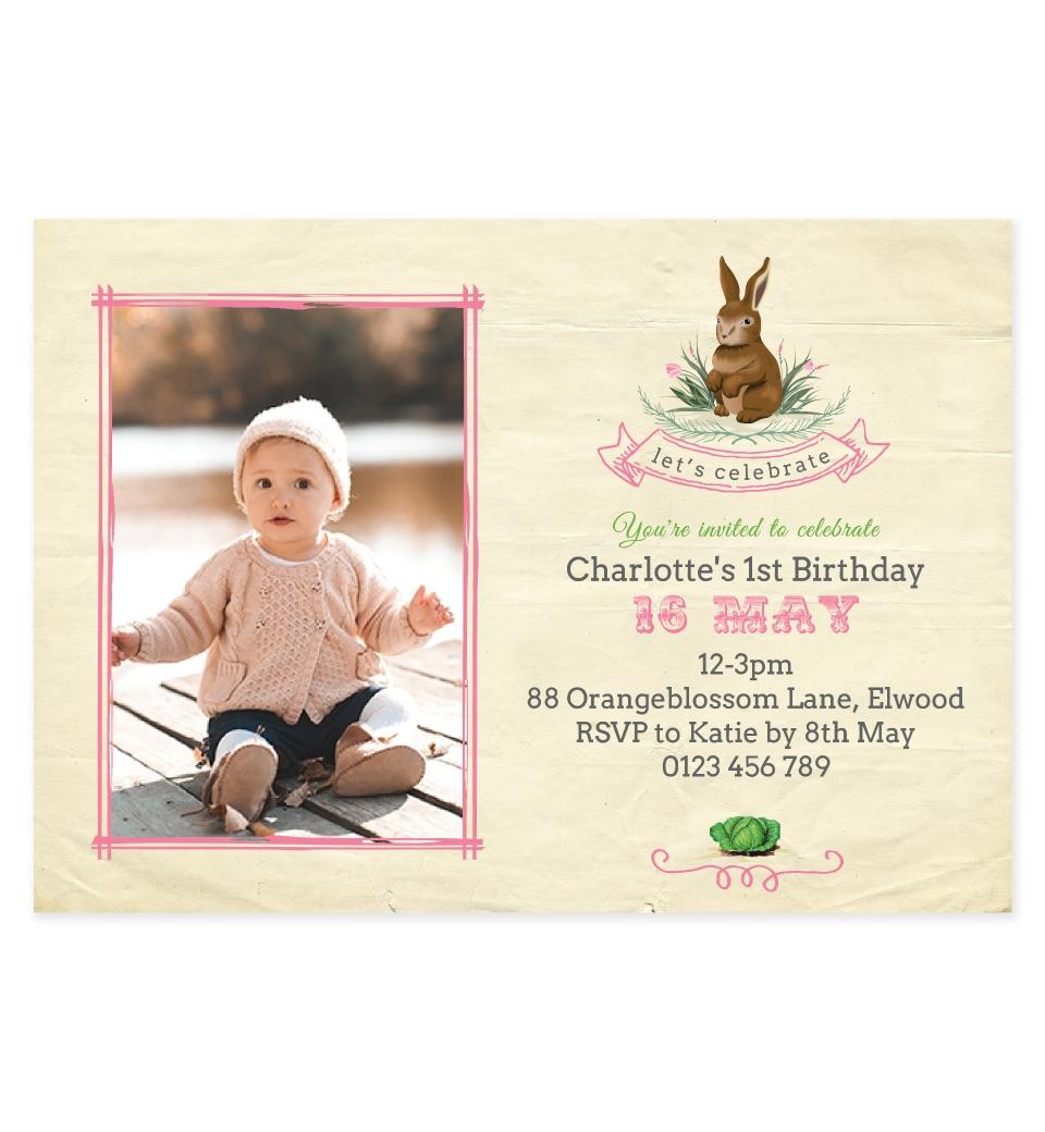 Pink Garden Bunny Photo Birthday Invitation | Love JK